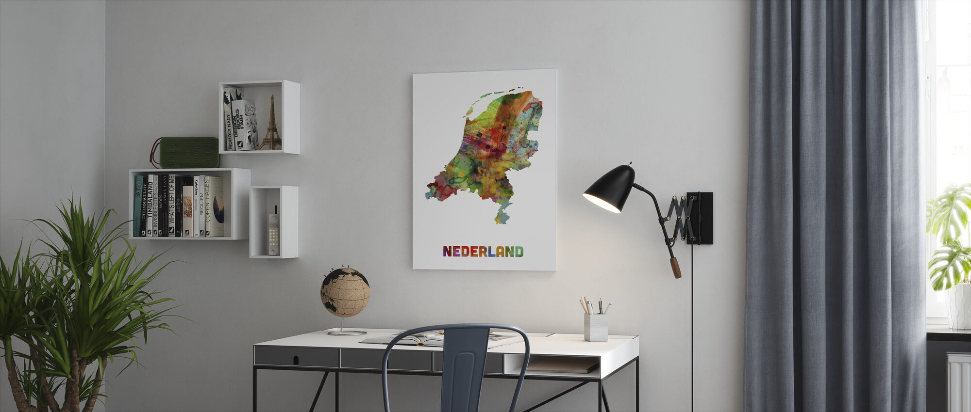 Nederland Watercolor Kaart - Canvas print - Kantoor