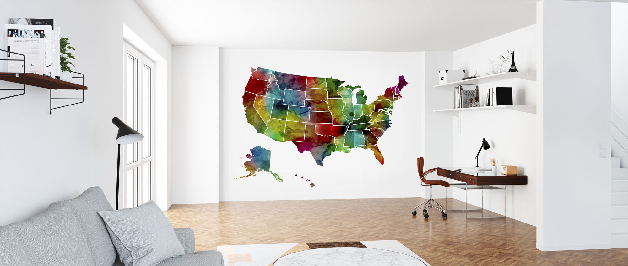 USA Watercolor Map - Wallpaper - Office