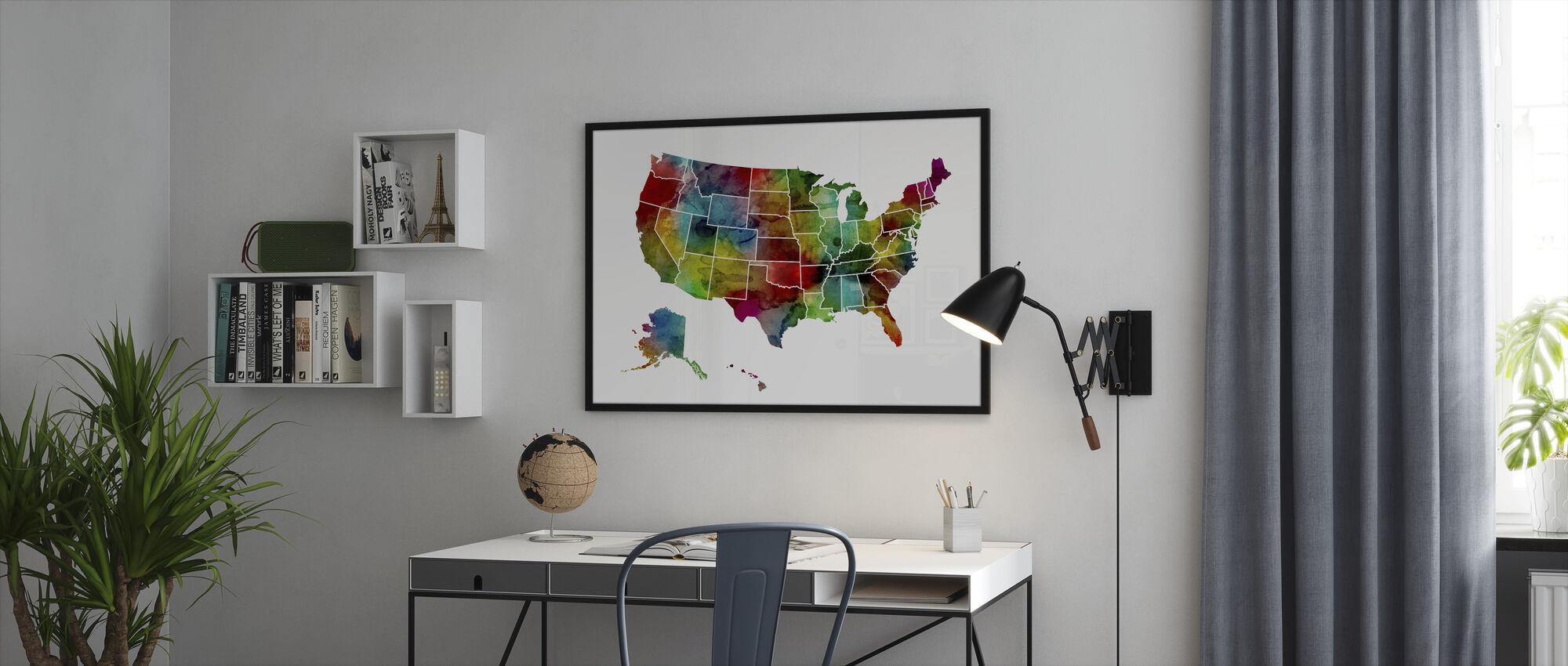 Yhdysvallat Watercolor Kartta - Kehystetty kuva - Toimisto