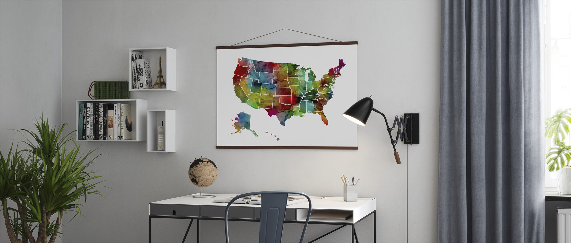 USA Watercolor Map - Poster - Office