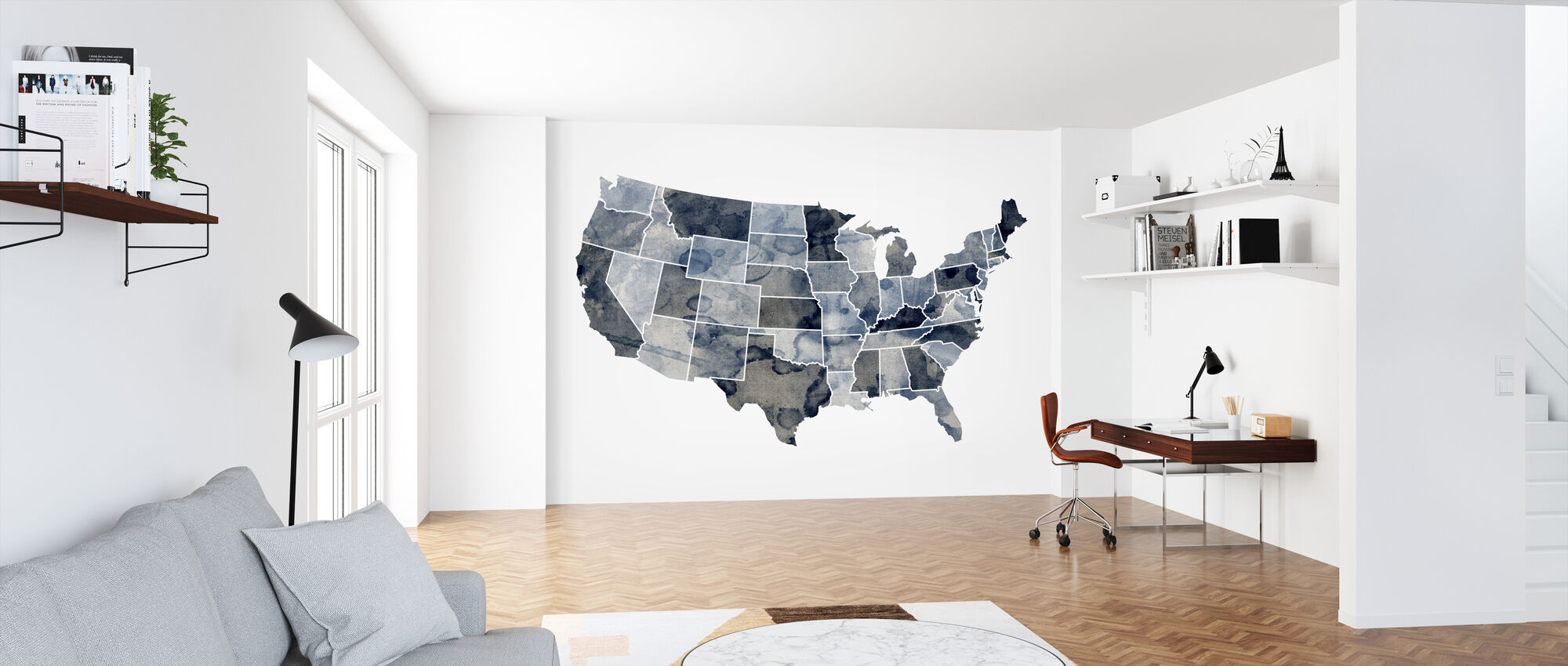 USA Watercolor Map Blue - Wallpaper - Office