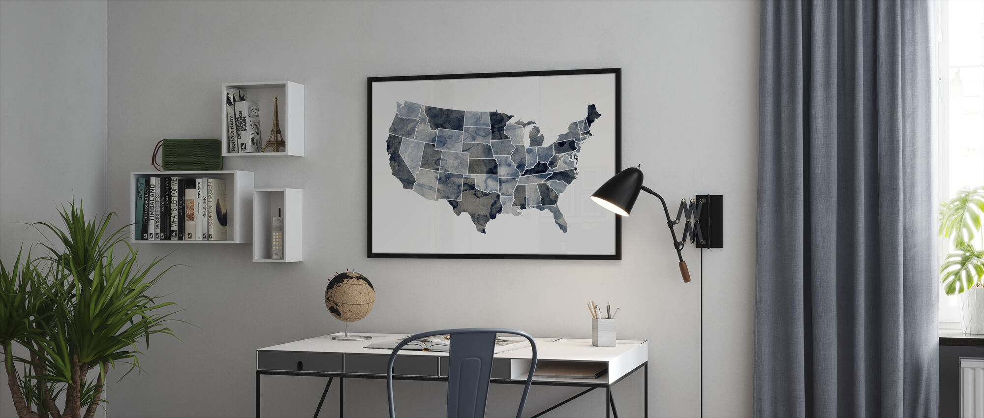 USA Watercolor Map Blue - Framed print - Office