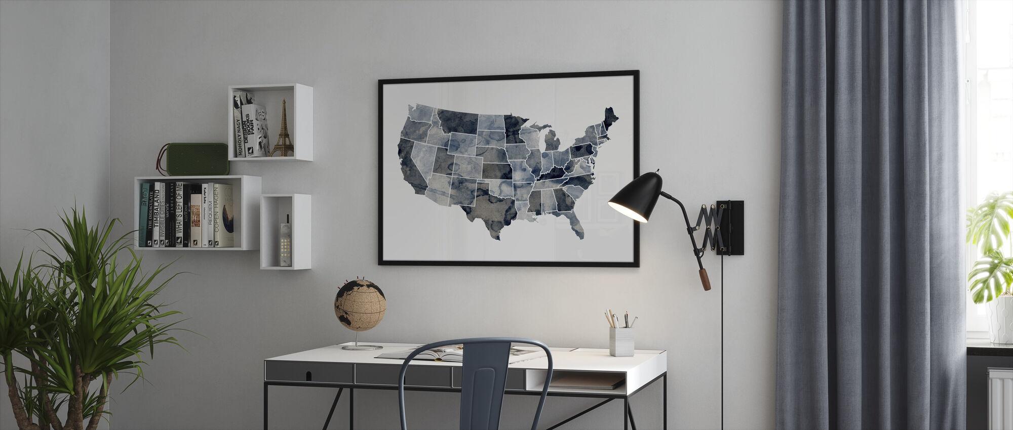 Yhdysvallat Watercolor Kartta Sininen - Kehystetty kuva - Toimisto