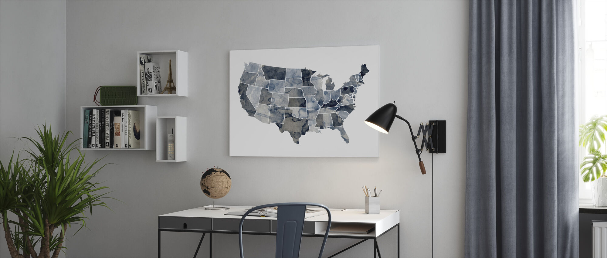 USA Watercolor Map Blue - Canvas print - Office