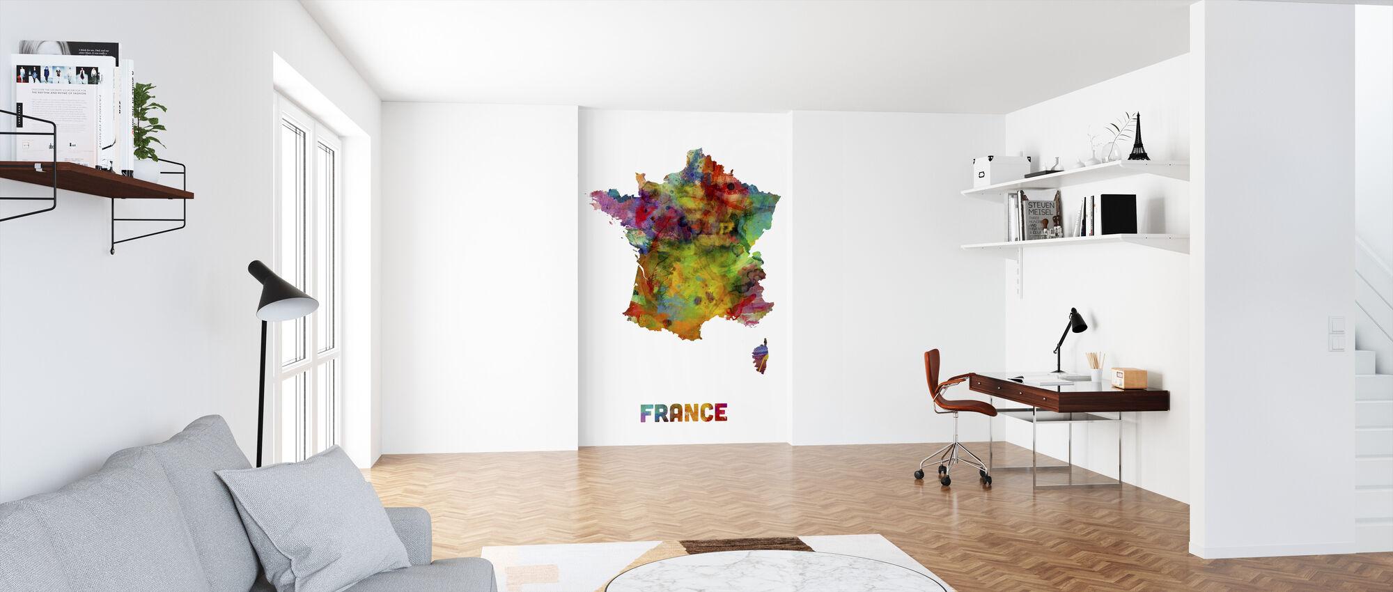 France Watercolor Kaart - Behang - Kantoor