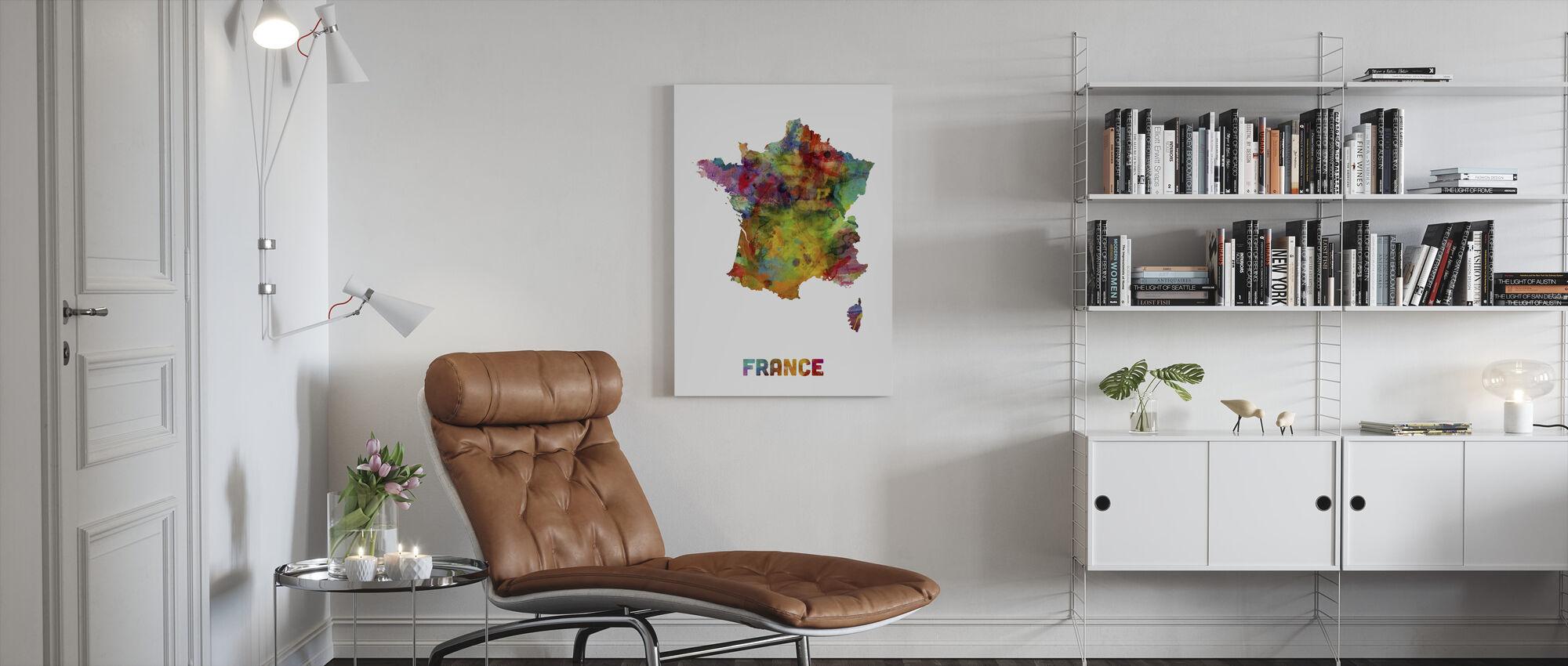 France Aquarelle Carte - Impression sur toile - Salle à manger