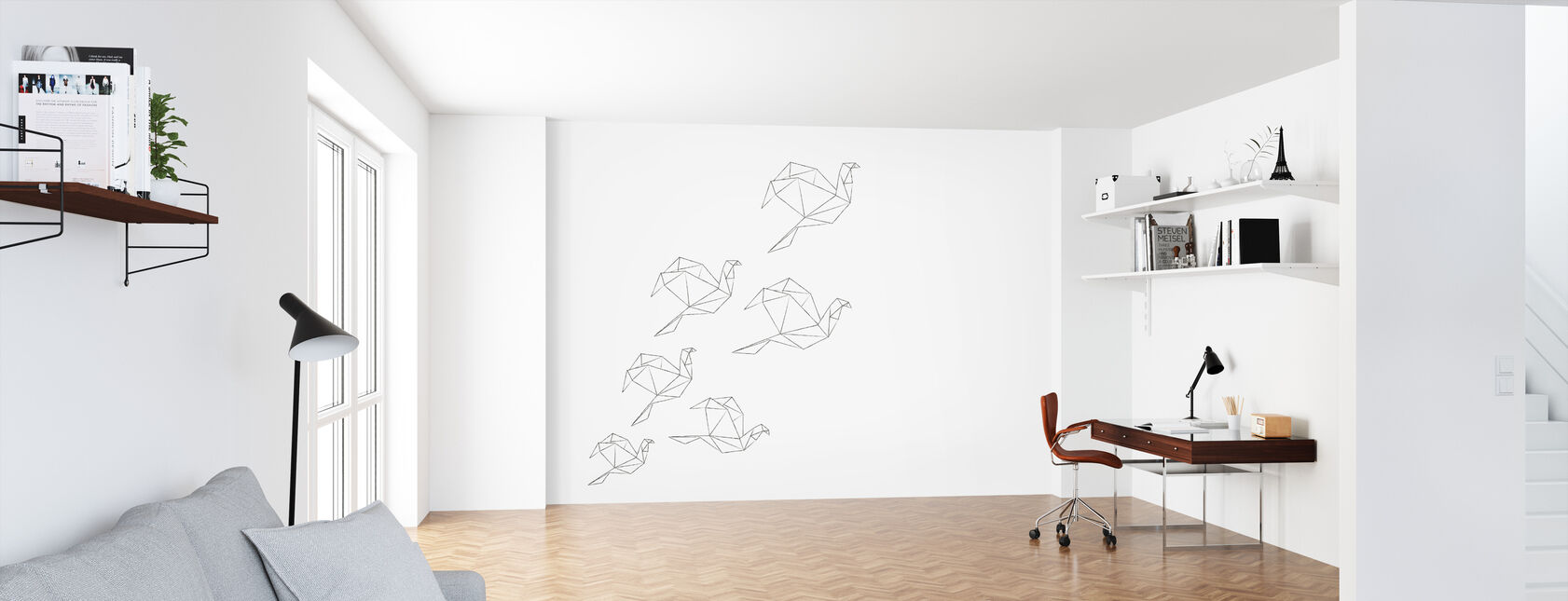 Origami Lineart - Wallpaper - Office