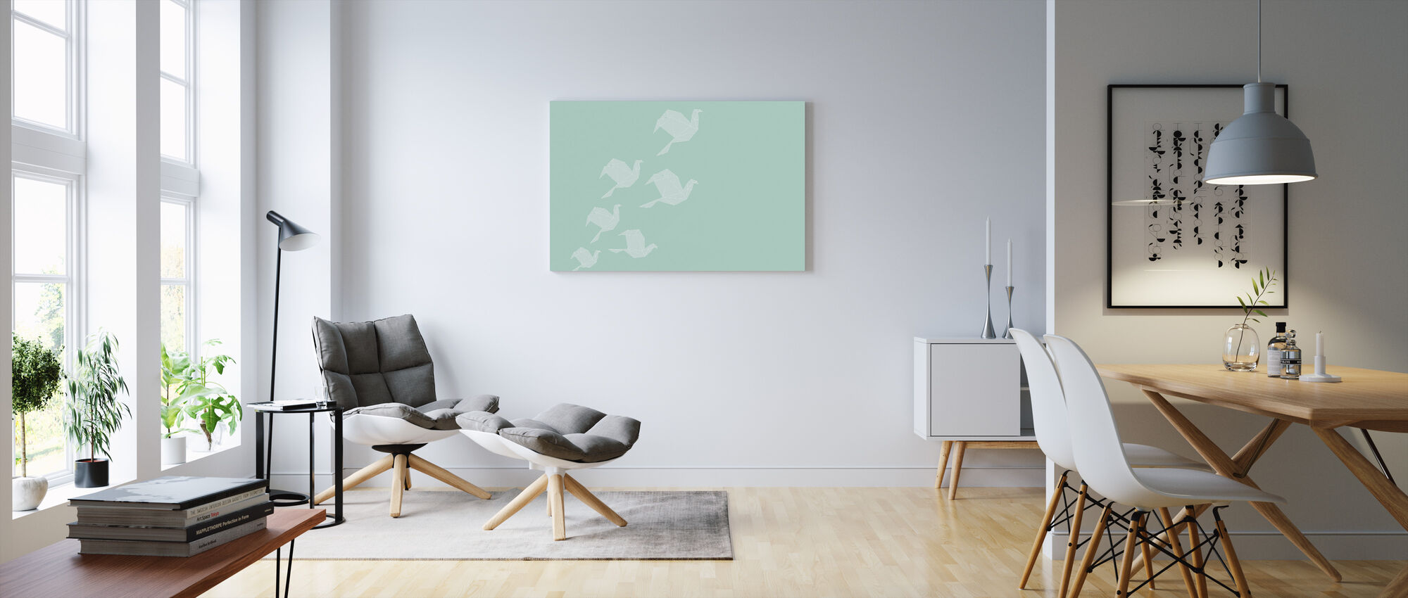 Origami Turquoise - Canvas print - Living Room