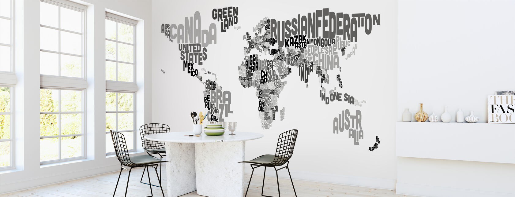 Typographic Text World Map Black & Grey - Wallpaper - Kitchen