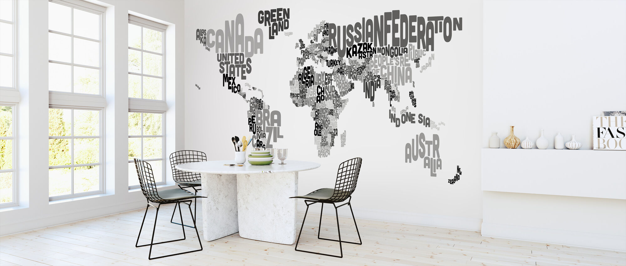 Typographic Text World Map Black & Grey - Wallpaper - Kitchen