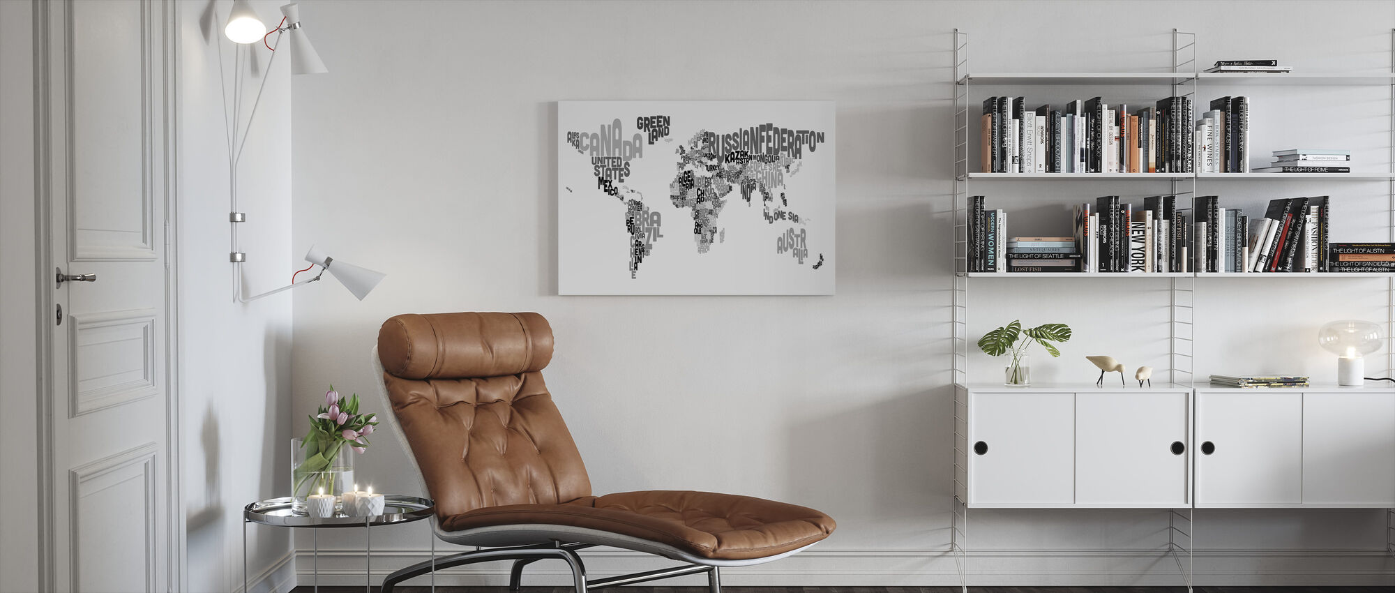 Typographic Text World Map Black & Grey - Canvas print - Living Room