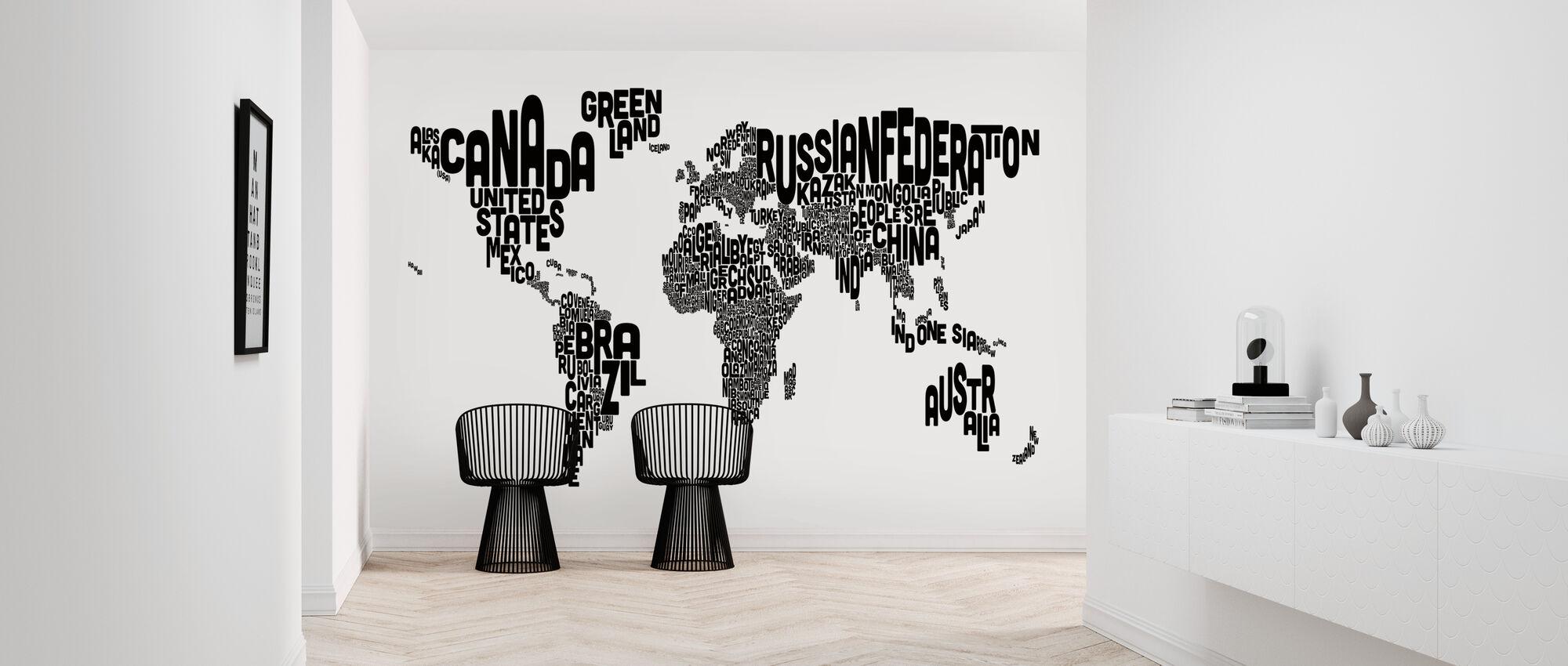 Typografische Tekst Wereldkaart Zwart - Behang - Gang