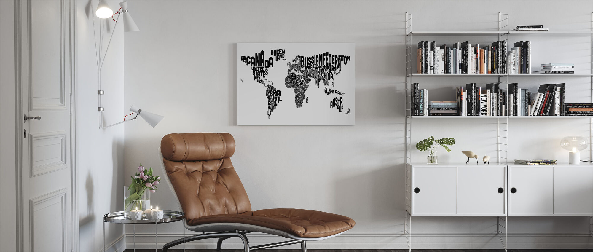 Typographic Text World Map Black - Canvas print - Living Room