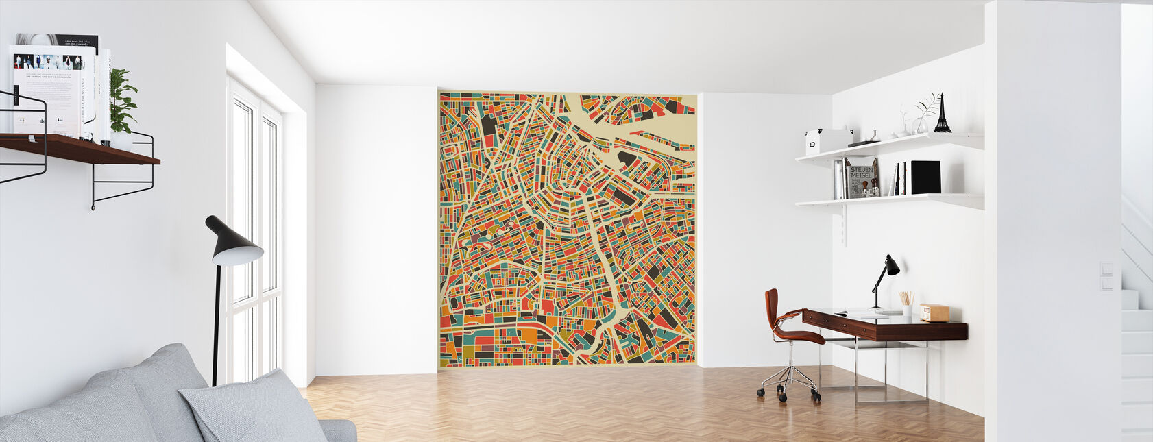 Multicolor Map - Amsterdam - Wallpaper - Office