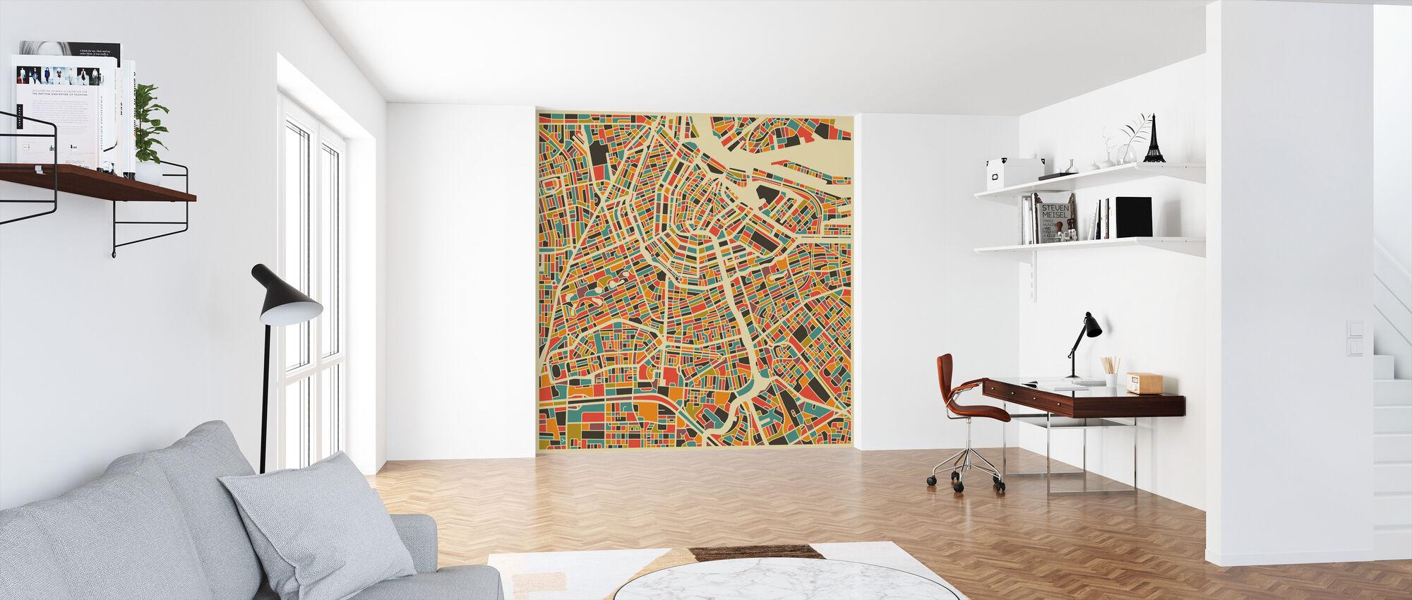 Multicolor Map - Amsterdam - Wallpaper - Office