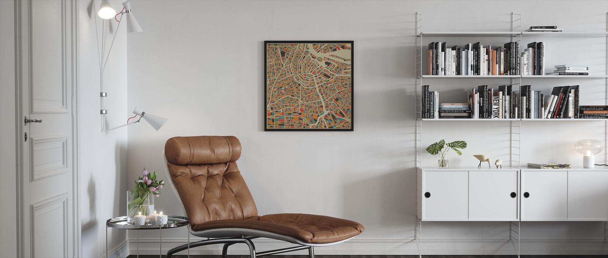 Multicolor Kartta - Amsterdam - Kehystetty kuva - Olohuone