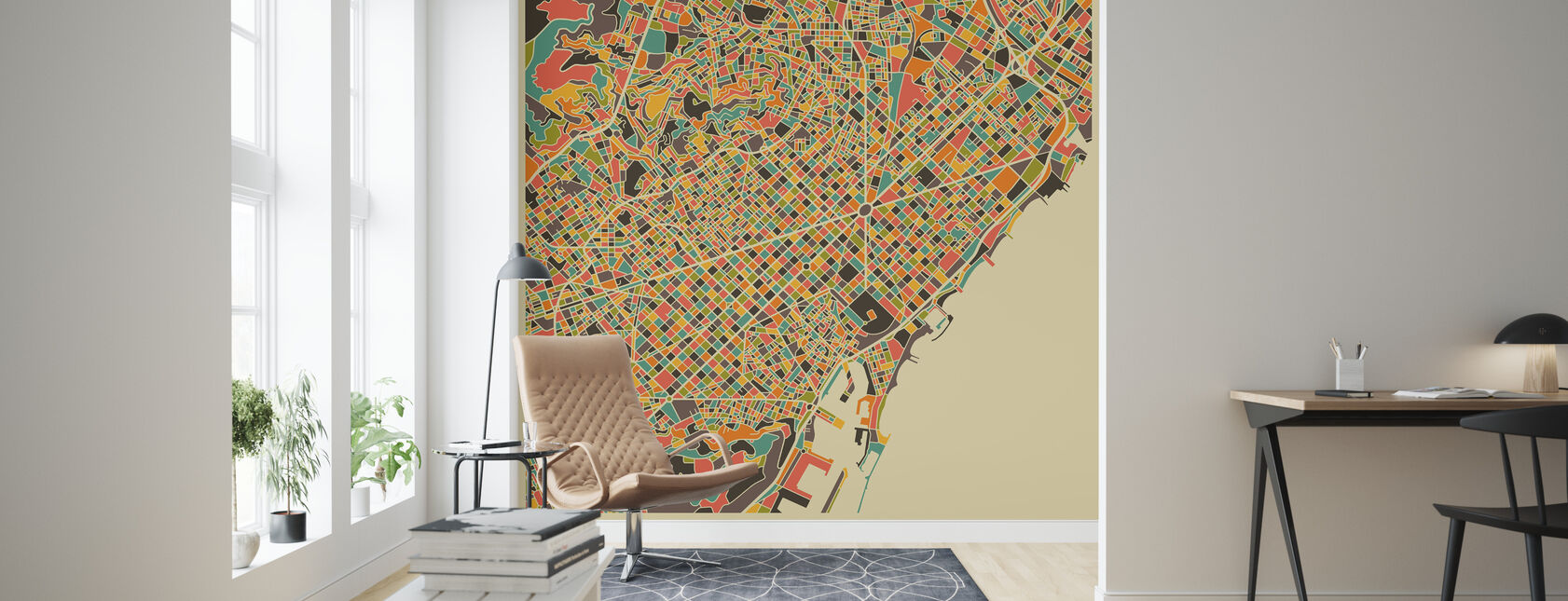 Multicolor Map - Barcelona - Tapet - Stue