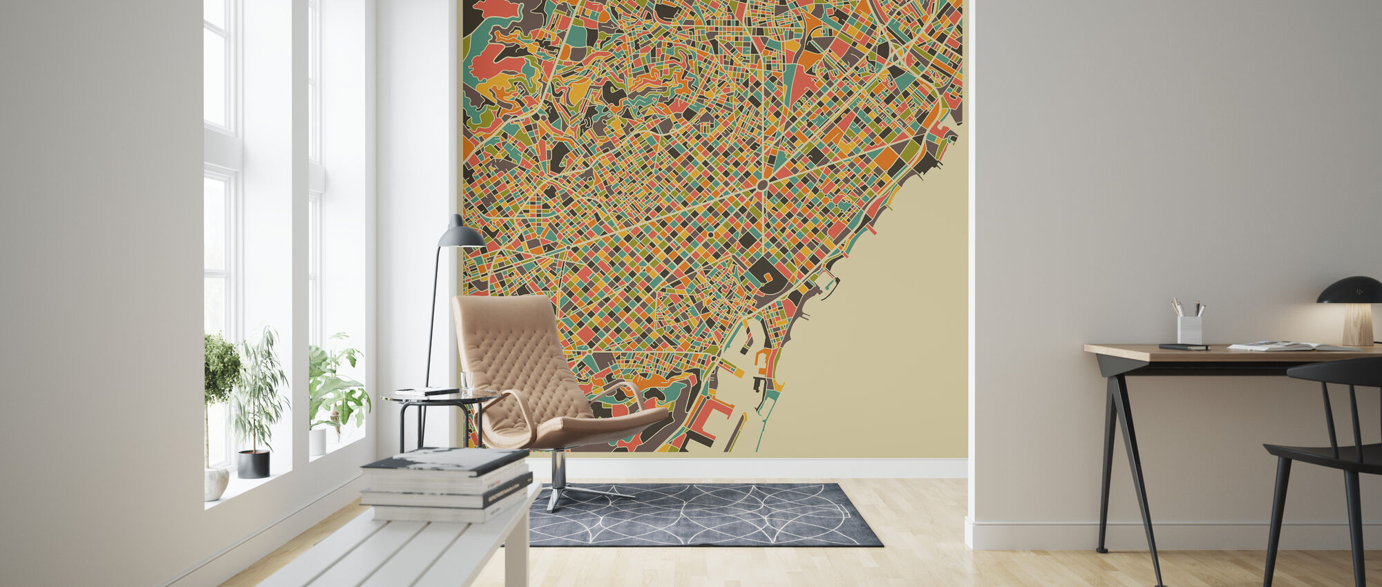 Multicolor Map - Barcelona - Wallpaper - Living Room