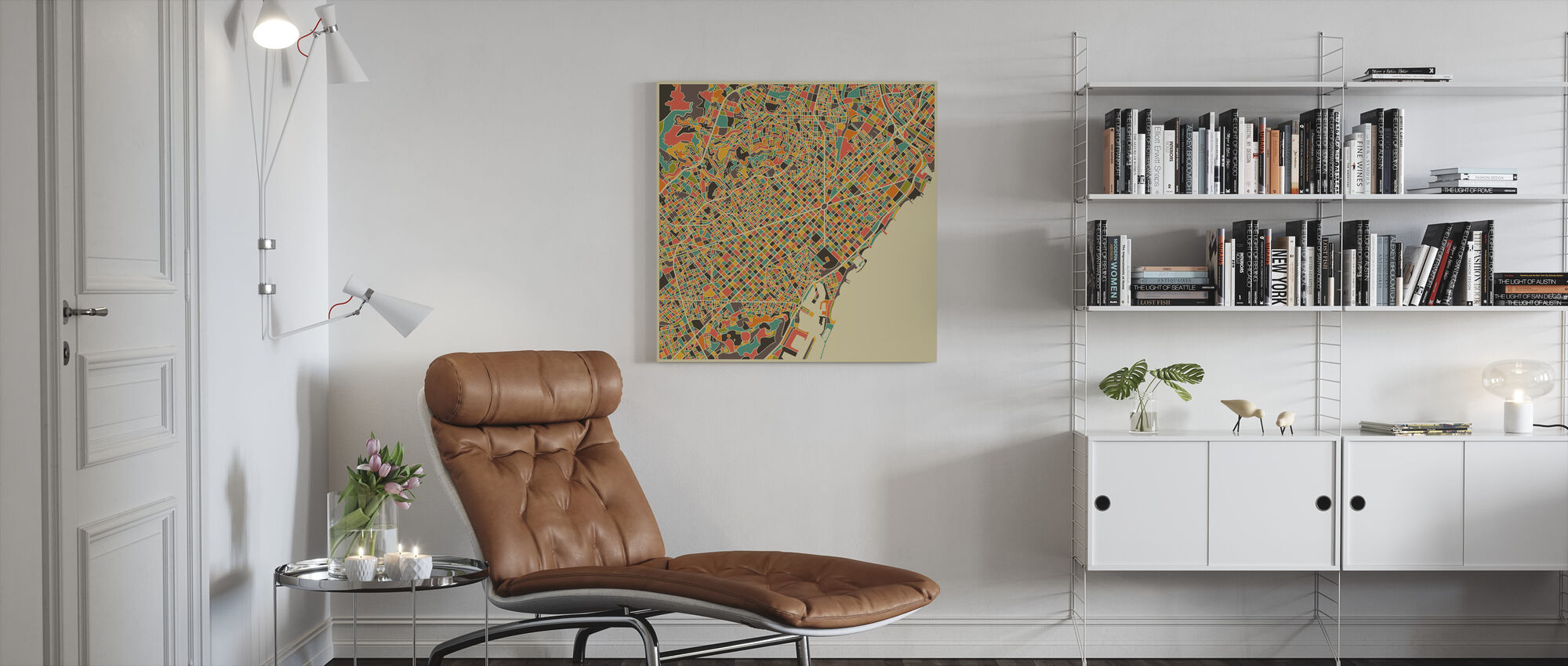 Multicolor Map - Barcelona - Canvas print - Living Room