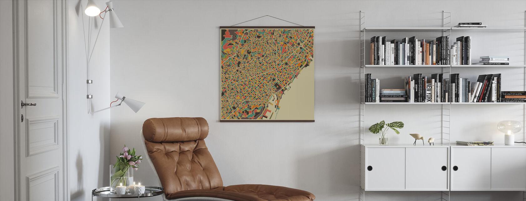 Multicolor Map - Barcelona - Poster - Living Room