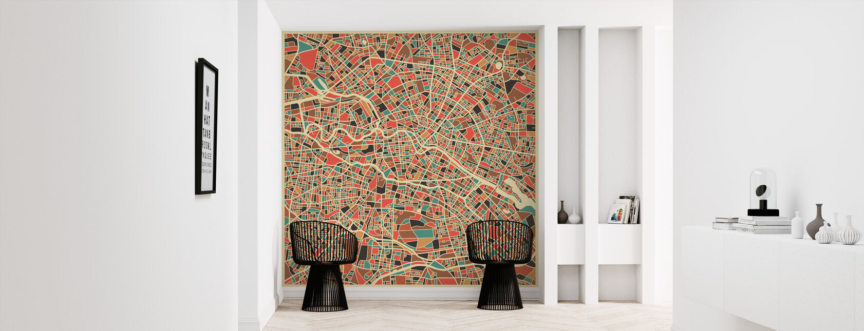 Multicolor Karte - Berlin - Tapete - Flur