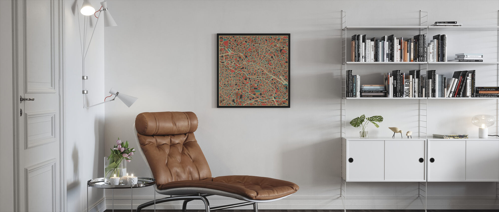 Monivärinen Kartta - Berliini - Kehystetty kuva - Olohuone