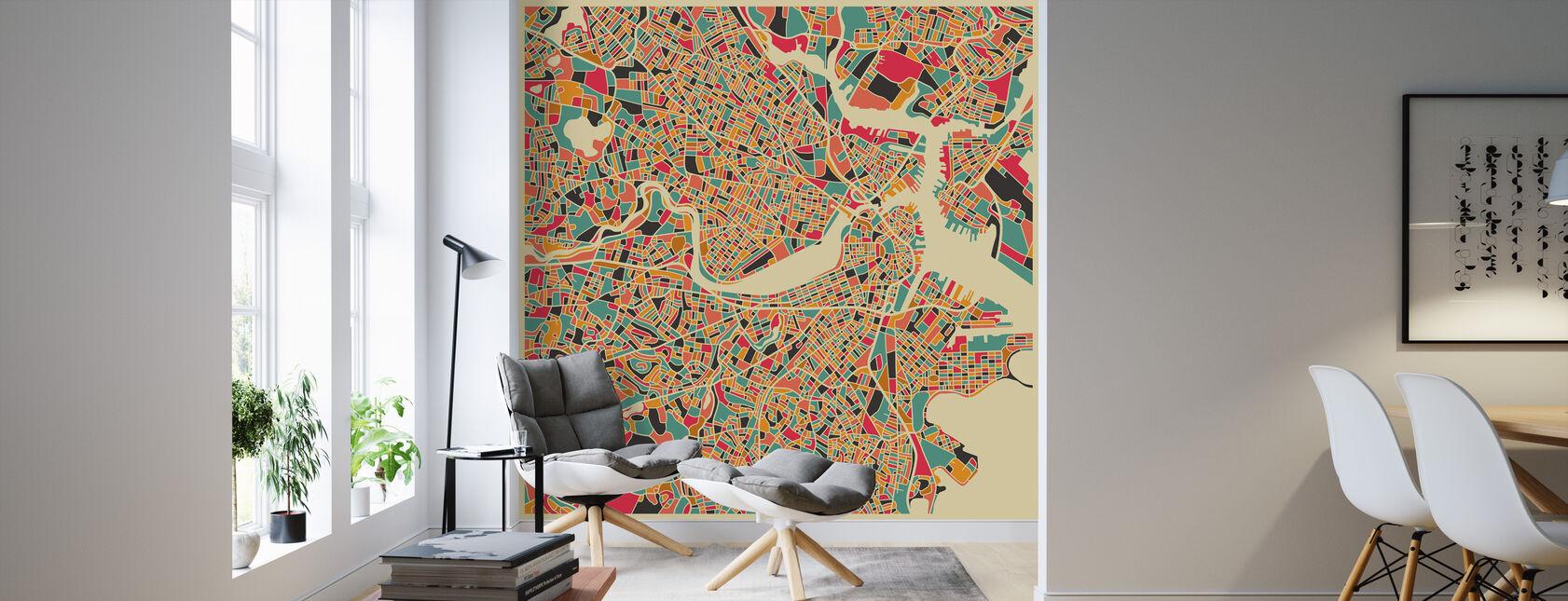 Karta över Multicolor - Boston - Tapet - Vardagsrum
