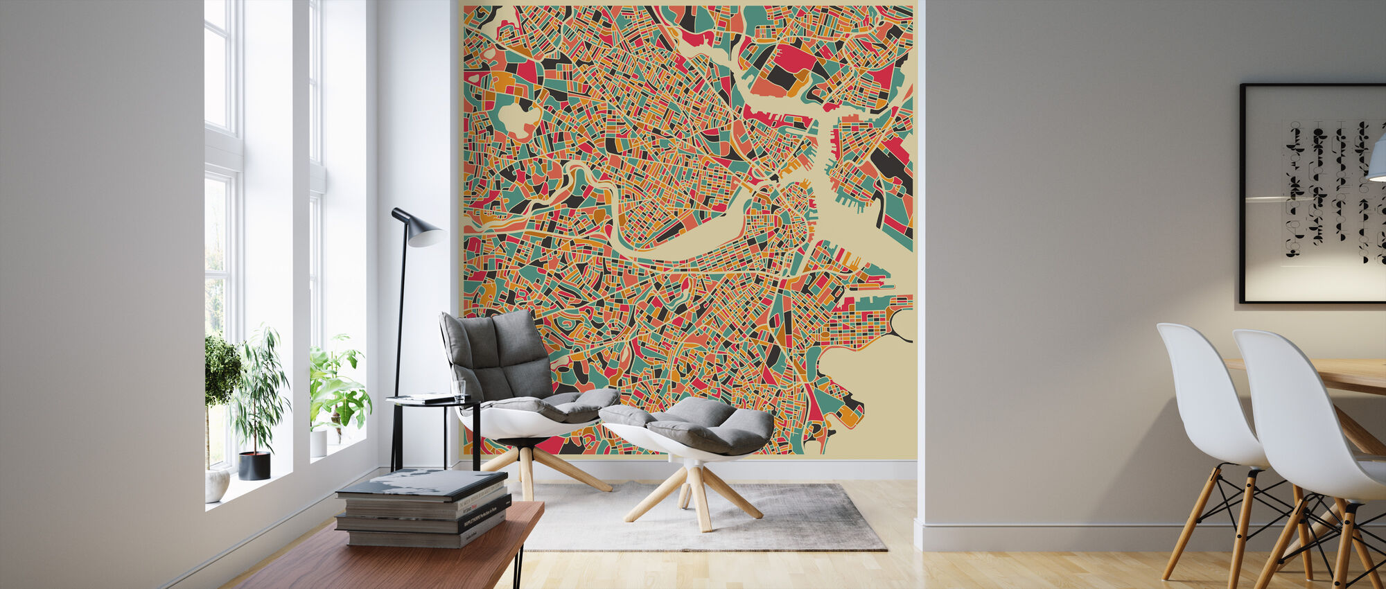 Multicolor Map - Boston - Wallpaper - Living Room