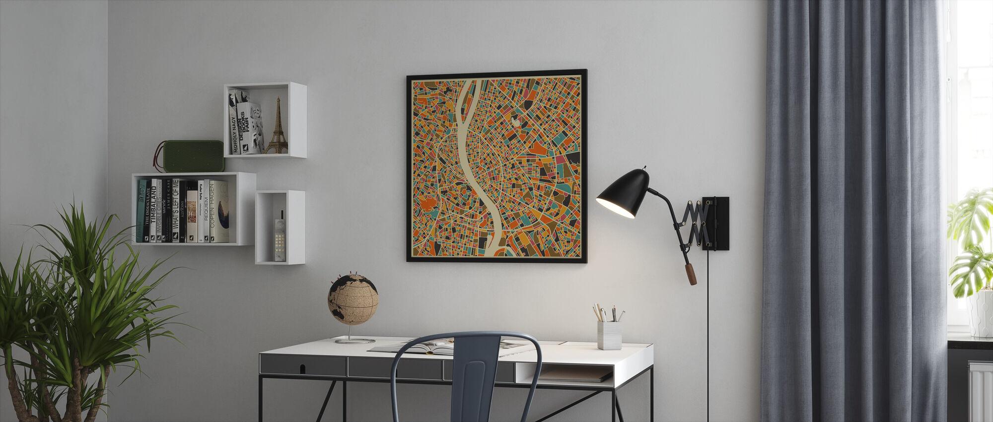 Monivärinen Kartta - Budapest - Kehystetty kuva - Toimisto