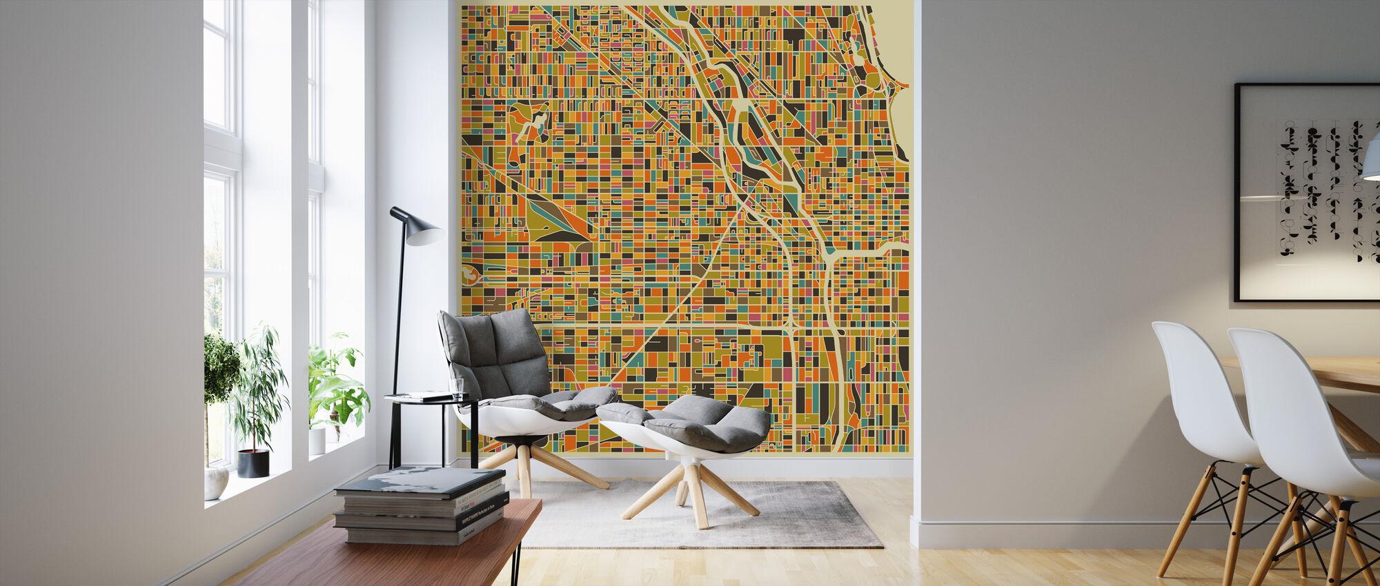 Multicolor Map - Chicago - Wallpaper - Living Room