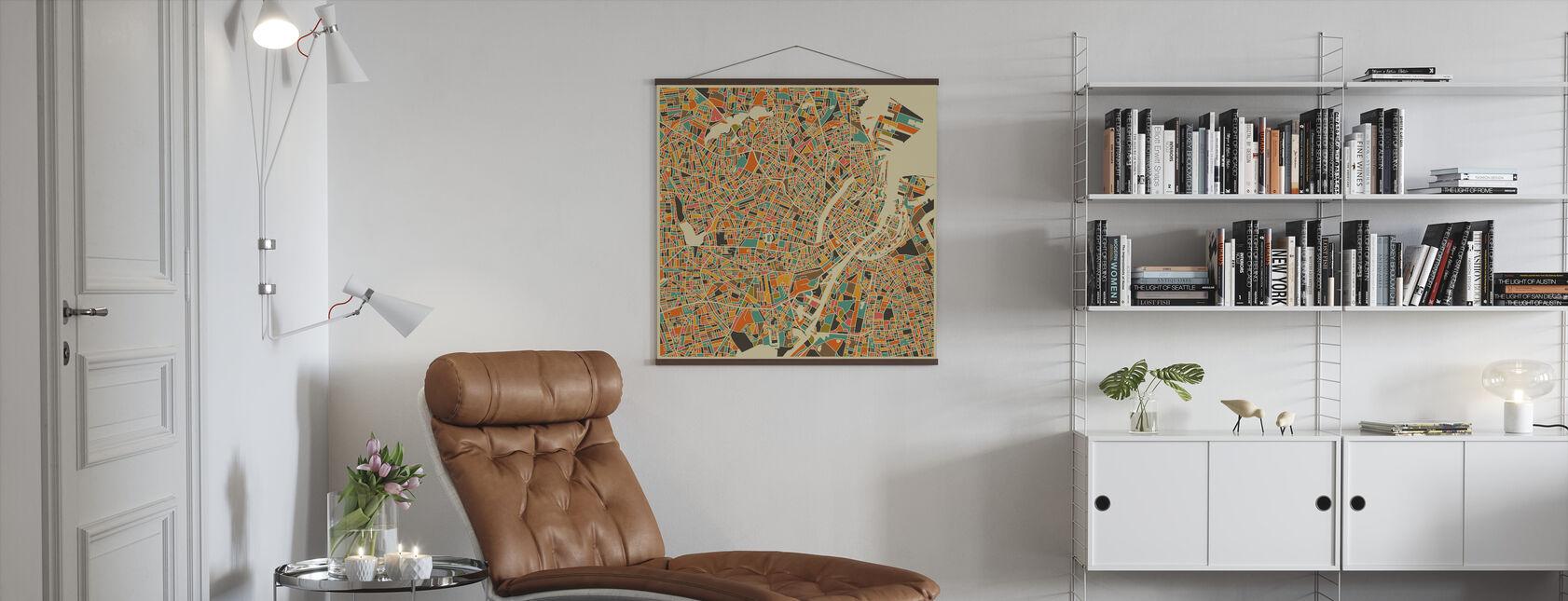 Flerfarget kart - København - Plakat - Stue