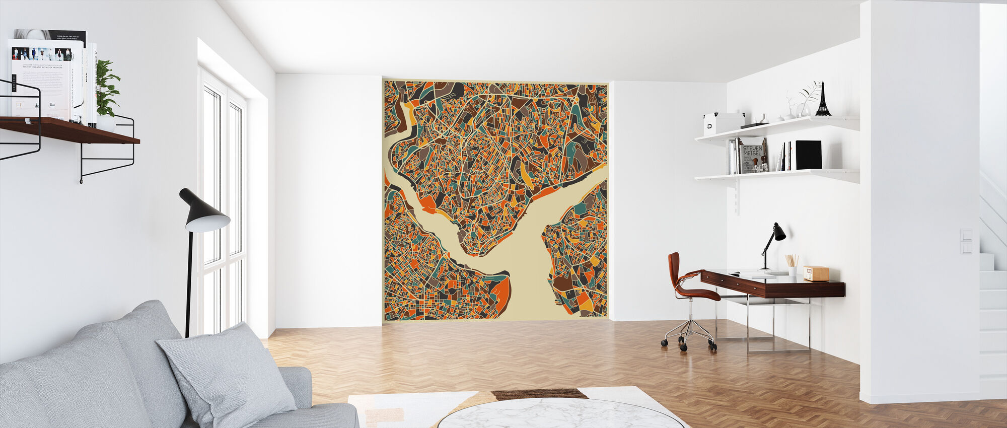 Multicolor Map - Istanbul - Wallpaper - Office