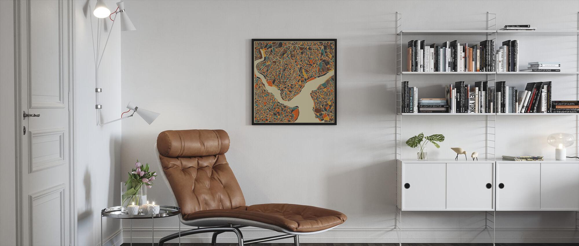 Multicolor Kartta - Istanbul - Kehystetty kuva - Olohuone