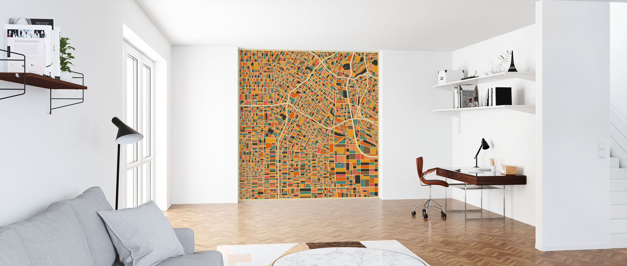 Multicolor Map - Los Angeles - Wallpaper - Office