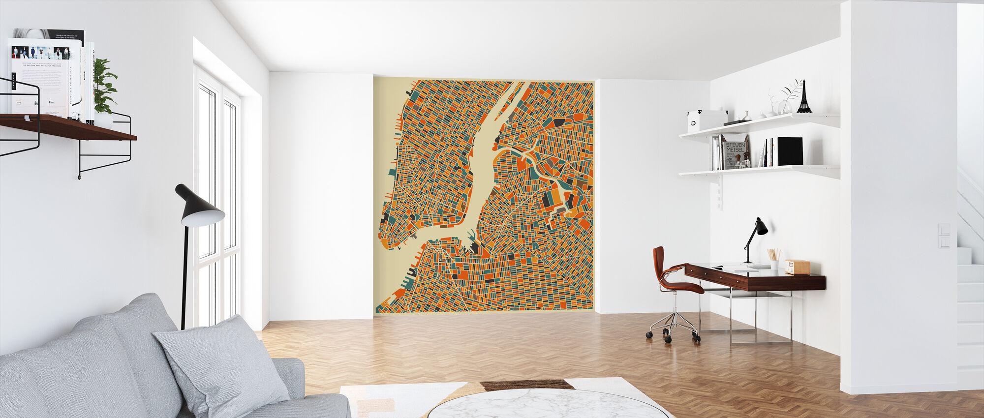 Multicolor Kaart - New York - Behang - Kantoor