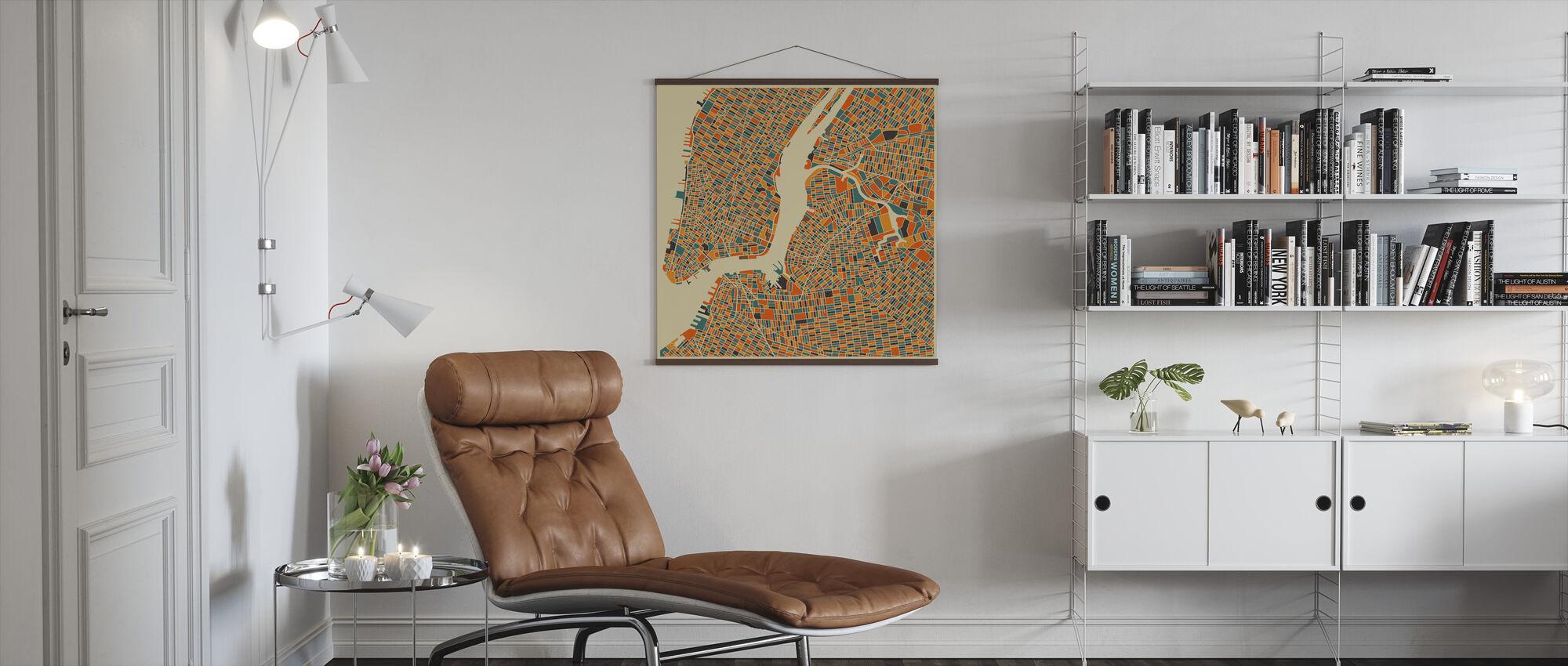 Mehrfarbige Karte - New York - Poster - Wohnzimmer