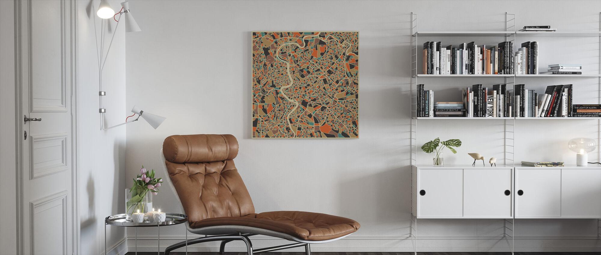 Mehrfarbige Karte - Rom - Leinwandbild - Wohnzimmer