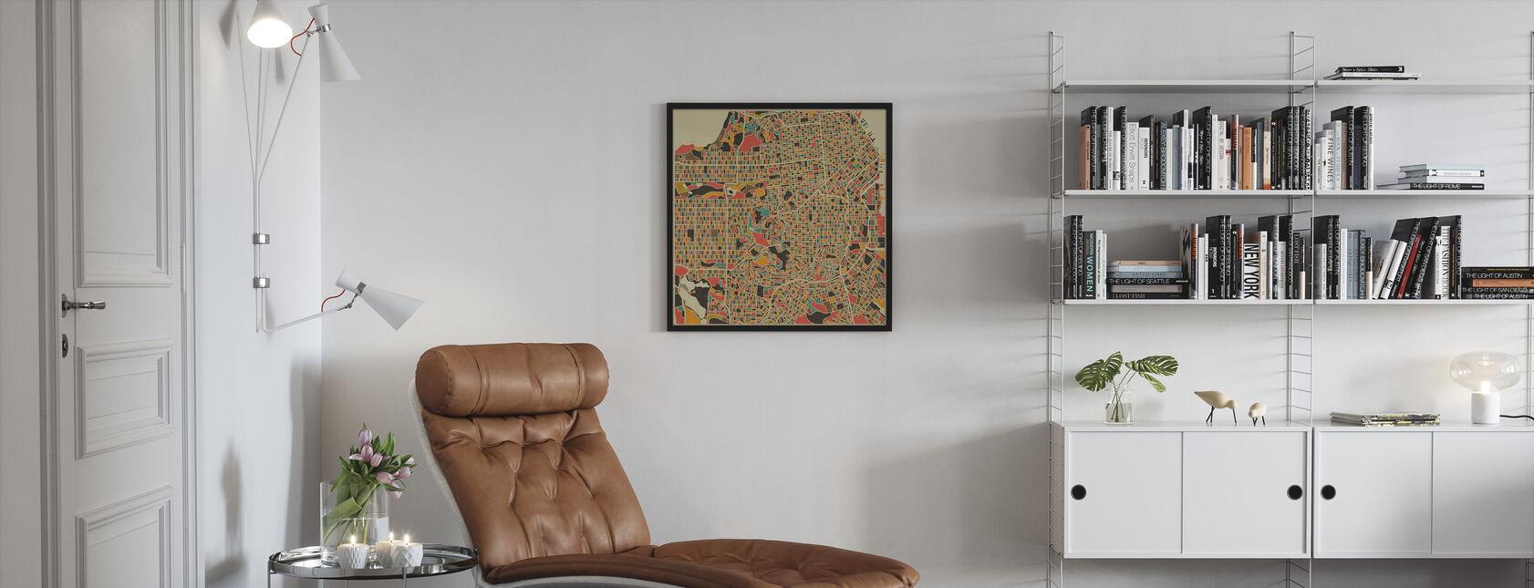 Multicolor Map - San Francisco - Framed print - Living Room