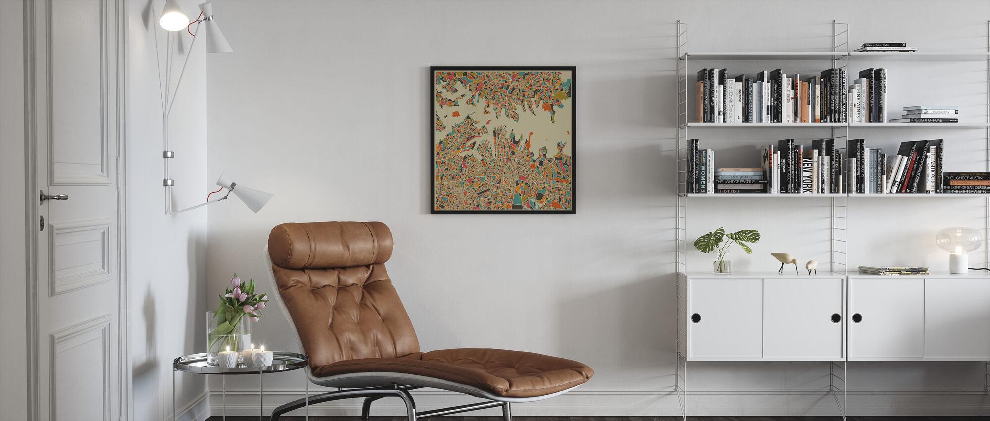 Multicolor Kartta - Sydney - Kehystetty kuva - Olohuone