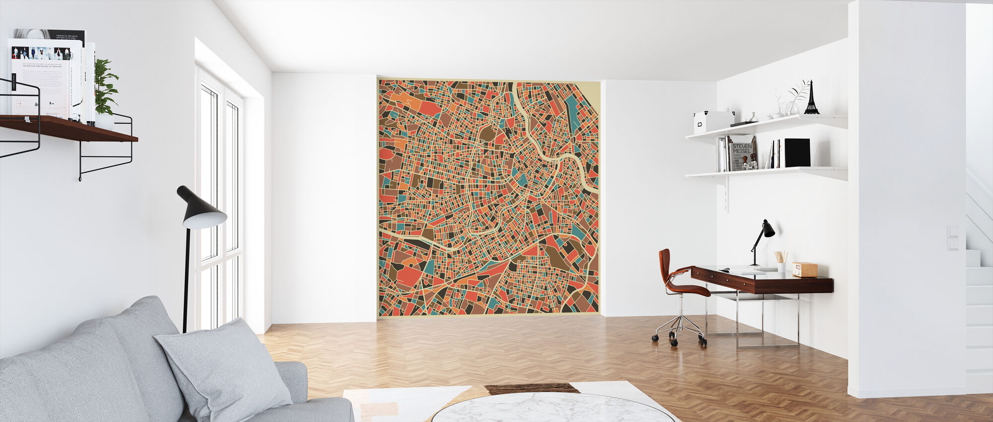 Multicolor Map - Vienna - Wallpaper - Office