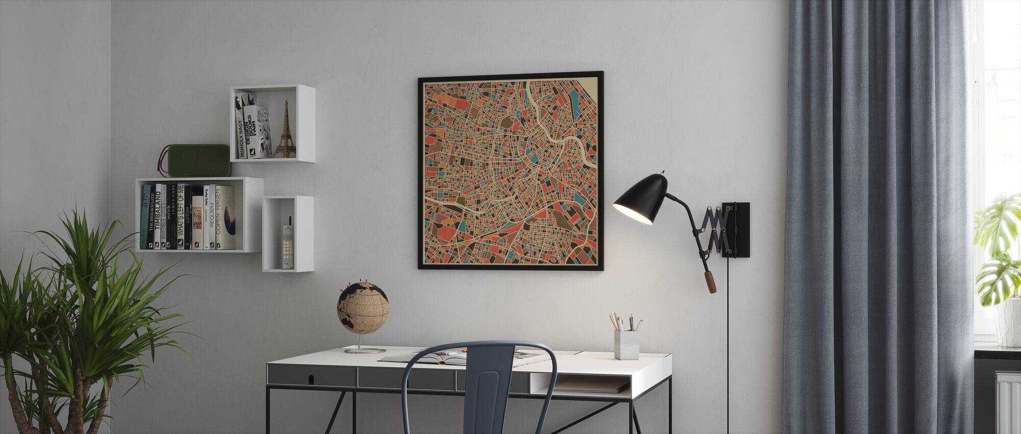 Multicolor Kartta - Wien - Kehystetty kuva - Toimisto