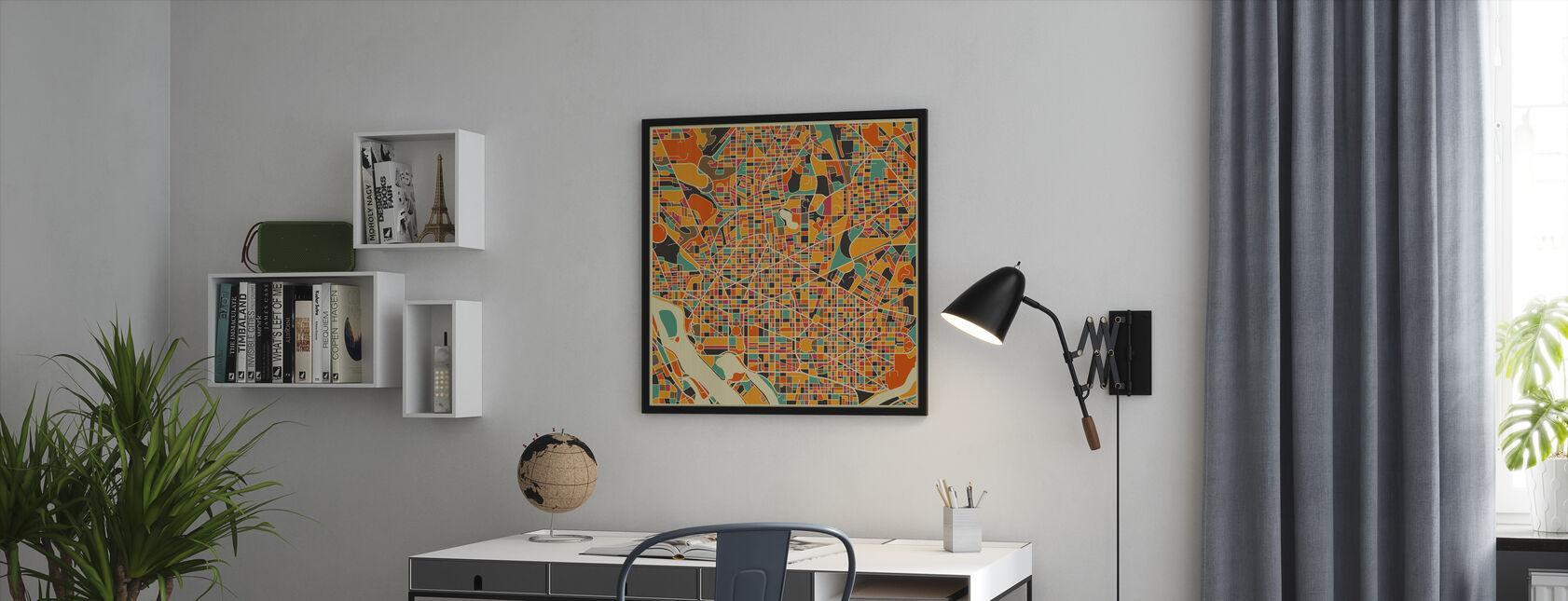 Multicolor Map - Washington - Innrammet bilde - Kontor