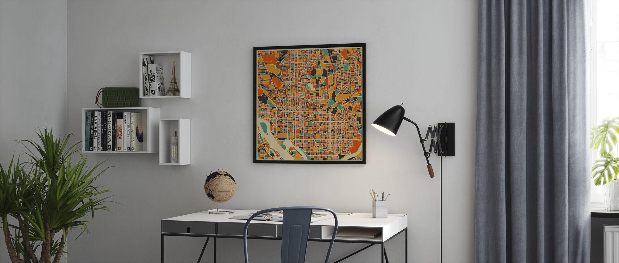 Multicolor Map - Washington - Framed print - Office