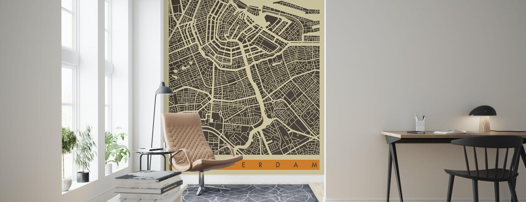 Stadsplan - Amsterdam - Behang - Woonkamer