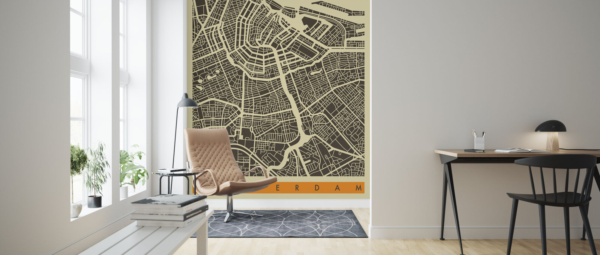 City Map - Amsterdam - Wallpaper - Living Room