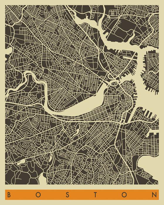 City Map Boston Canvastaulu Kaikkiin Tiloihin Photowall
