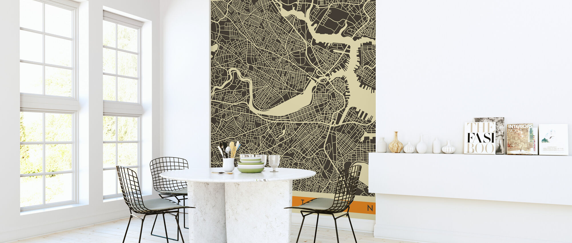 City Map - Boston - Wallpaper - Kitchen