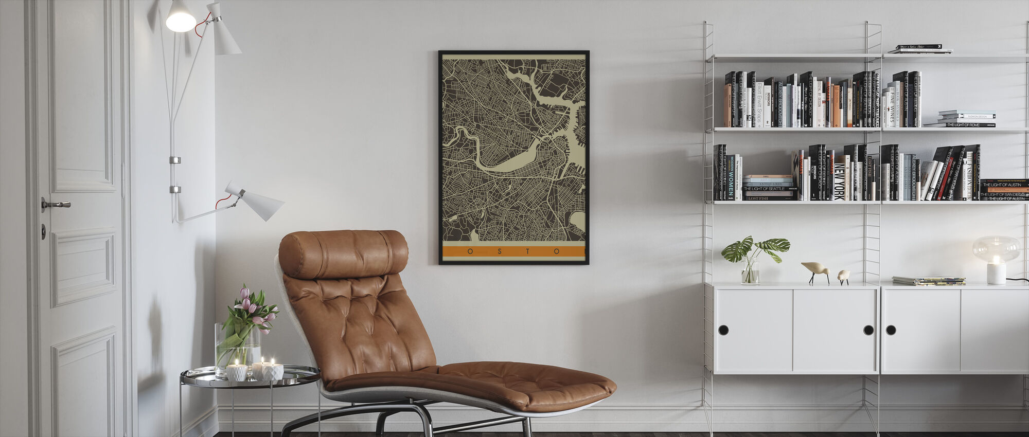 City Map - Boston - Framed print - Living Room