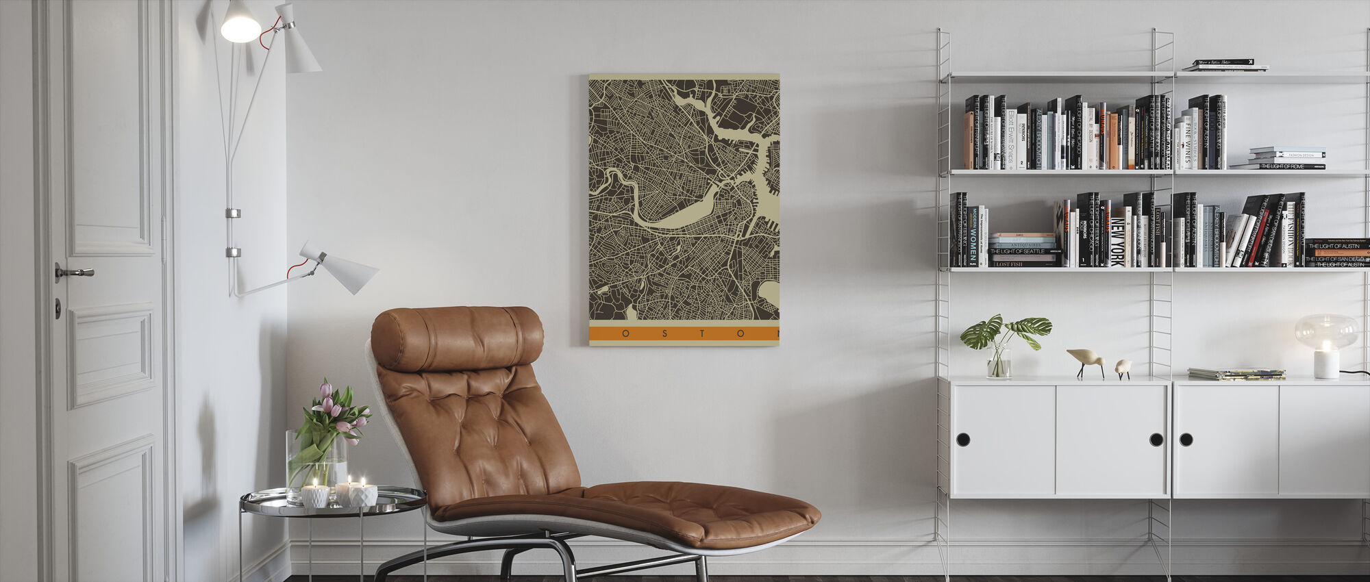 City Map - Boston - Canvas print - Living Room