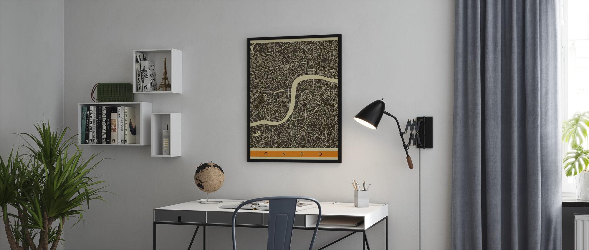 Kaupunki Kartta - Lontoo - Kehystetty kuva - Toimisto